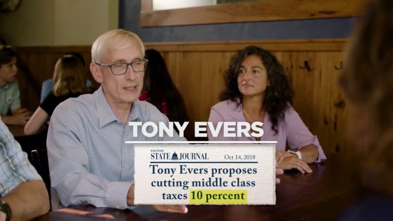 """Greater Wisconsin Political Fund: 30-second TV ad, """"Scott Walker worked for donors, Tony Evers works for us"""""""